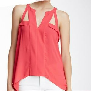 NWOT.. Silk BCBG Maxazira coral cut out top.